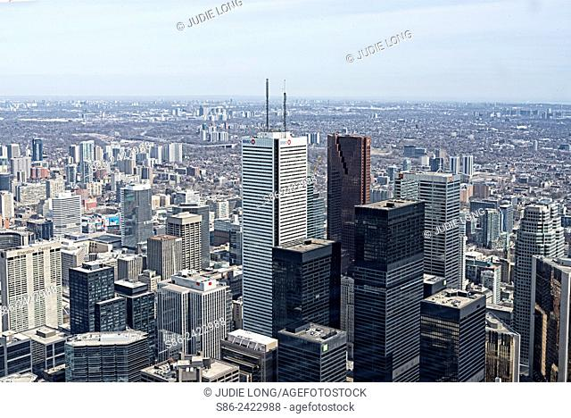 Overlooking Downtown Toronto, Ontario, Canada, from the CN Tower