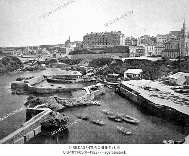 One of the first autotype prints, port of biarritz, historic photograph, 1884, france, europe