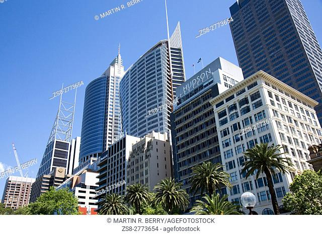 High rise office towers on Macquarie street in Sydney central business district,Sydney,Australia