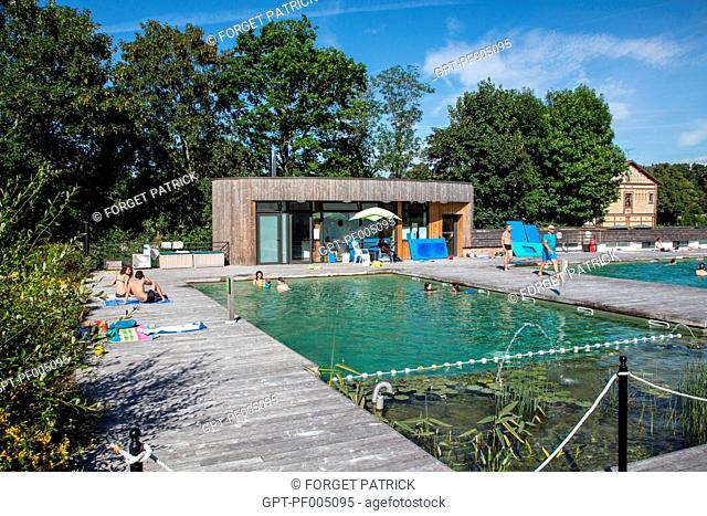 NATURAL SWIMMING, CANTONAL AQUATIC CENTER, ECOLOGICAL POOL WITH NATURAL FILTRATION, RUGLES (27), FRANCE