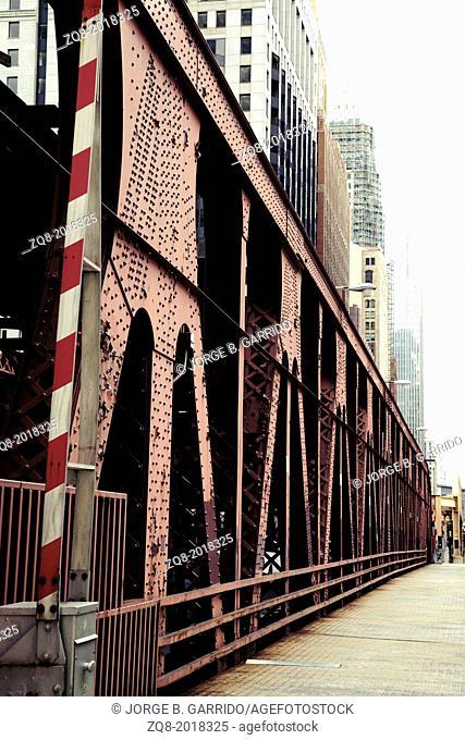 City aged Bridge. Chicago