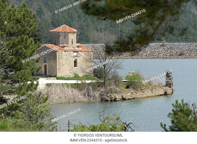 View of the church in Doxa Lake. Doxa Laka, Feneo, Corinthia, Peloponnese, Greece