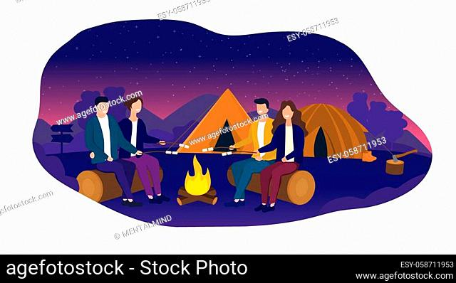 Vector Illustration of two couples cooking marshmallows over fire while camping under starry night sky