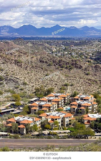 Warm Winter Day in Greater Phoenix Mountain Housing Community, Arizona