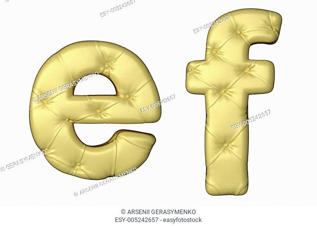 Luxury beige leather font E F letters