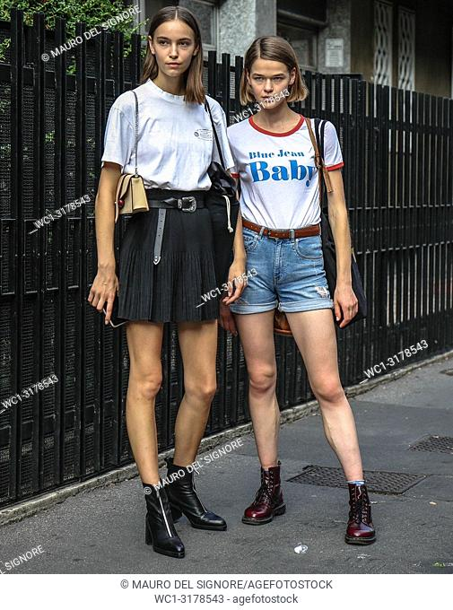 MILAN, Italy- September 19 2018: Models Josephine Adam and Jessica Furhmann on the street during the Milan Fashion Week