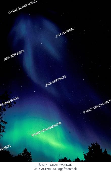 Northern lights (Aurora borealis) at Tilton Lake Sudbury Ontario Canada