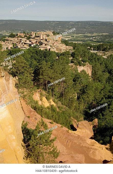 erosion, France, Europe, Luberon, Ochre, Ocre, Provence, reddish, rock, Roussillon, scenery, landscape, Vaucluse, vi
