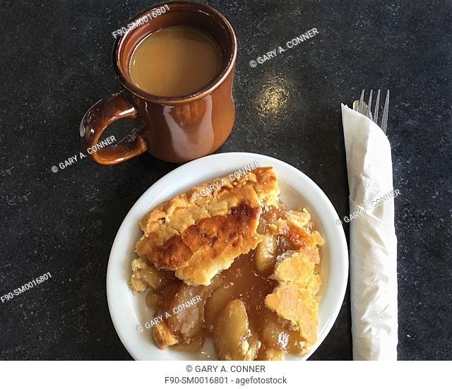 Apple pie and coffee at a cafe in Denver, CO