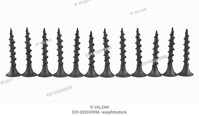 screws isolated on white background closeup