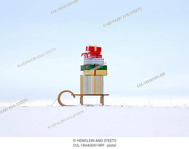 Christmas presents on sled