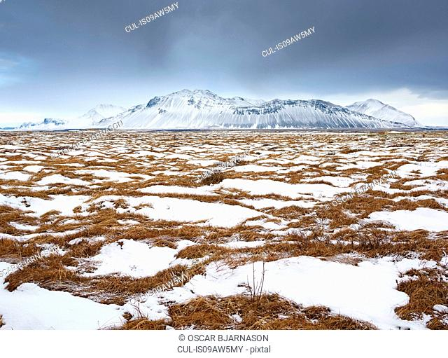 Snow covered scrubland and snow capped mountain, Alftaneshreppur, Iceland