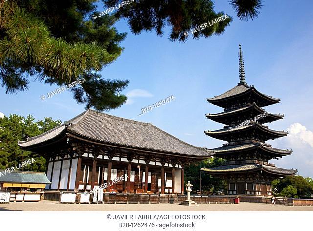 The Five Storied Pagoda, Horyu-ji Temple, Nara, Japan