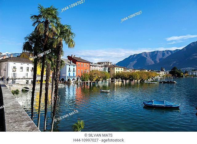 Ascona in a flooding day in Ticino, Switzerland
