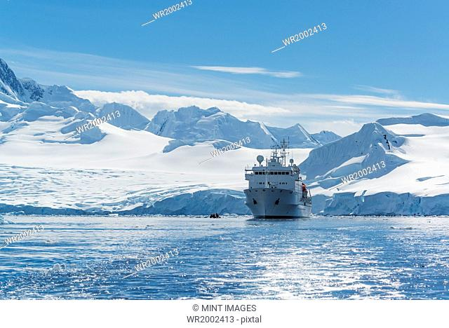 View of a polar research vessel, in the Antarctic