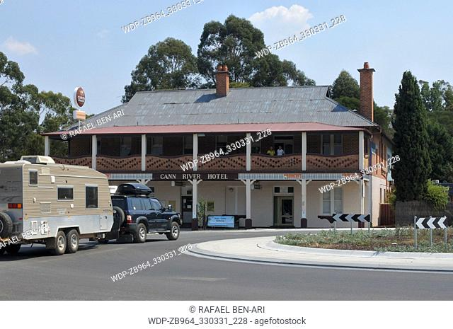 CANN RIVER, VIC - MAR 03 2019:Car pooling a caravan outside Cann River Hotel in Victoria. It's a popular stopping point for traveler's between Melbourne and...