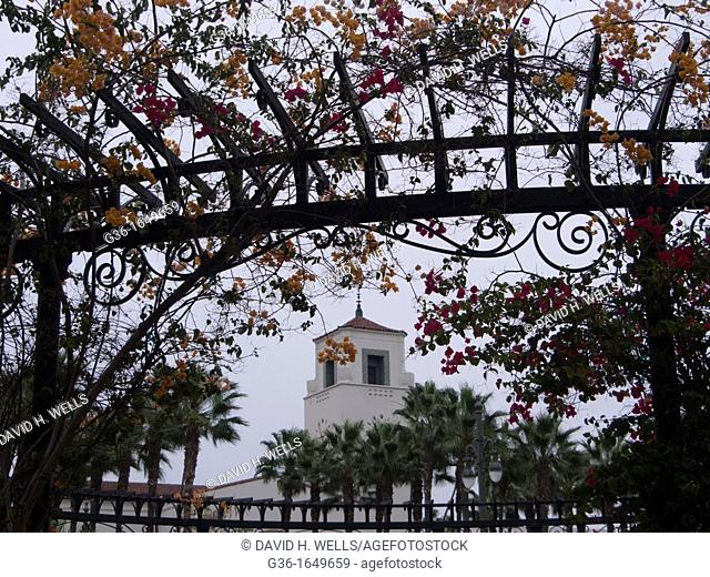 Red and orange bouganvilla on a trellis on Olivera Street in Los Angeles, California, United States