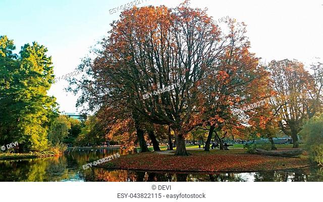 Fall in the Vondelpark in Amsterdam Netherlands