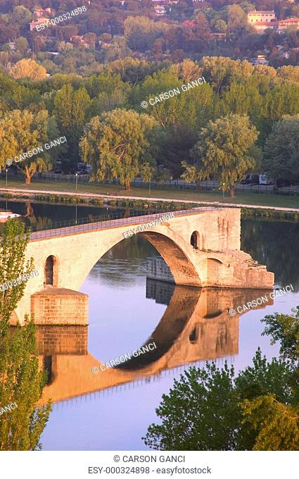 Avignon from Rhone River Provence France