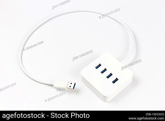 isolated USB hub on white background
