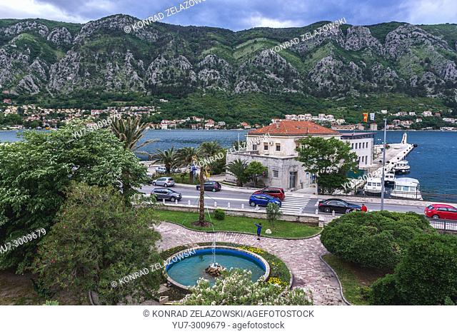 Fountain in front of Old Town walls in Kotor coastal city, located in Bay of Kotor of Adriatic Sea, Montenegro