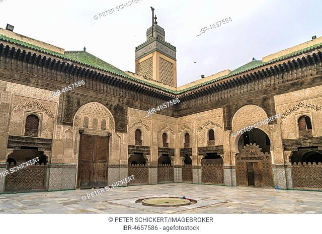 Courtyard of the Koran school Medersa Bou Inania, Fez, Morocco