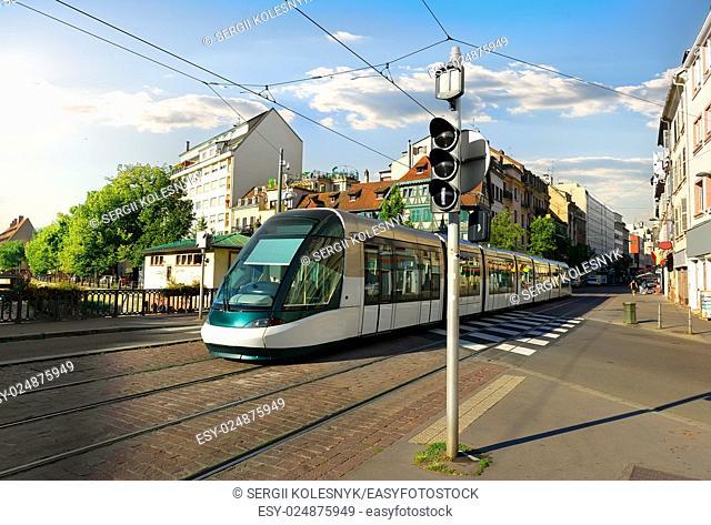 Modern tram on the street of Strasbourg, France
