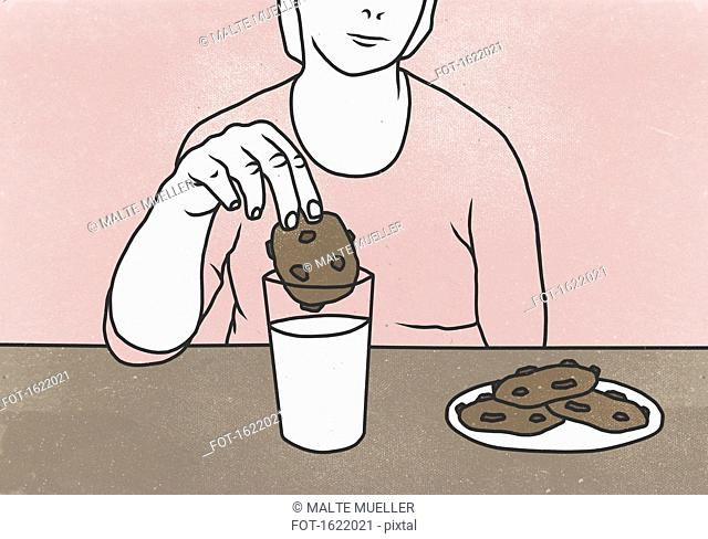 Midsection of woman dunking cookie in milk at table against colored background
