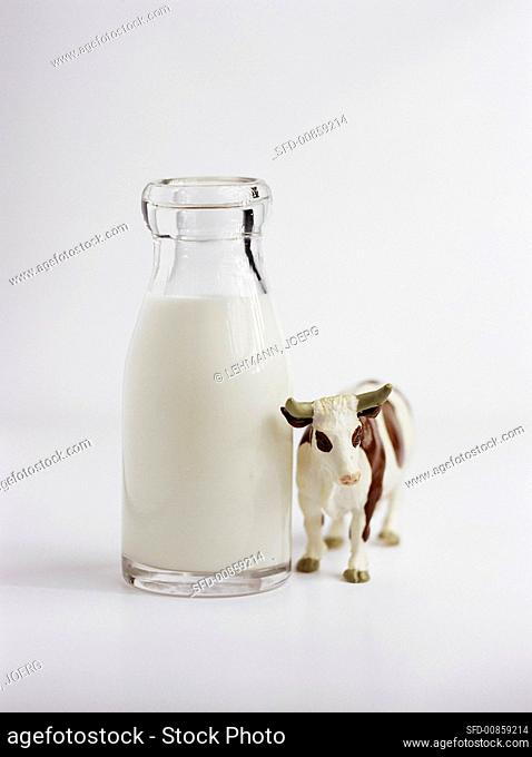 A bottle of milk with a toy cow