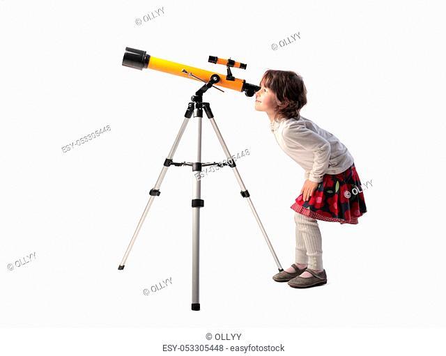 Girl looking into telescope