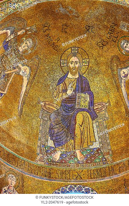 Byzantine Mosaics of Christ Pantocrator above the side chapel of the Cathedral of Santa Maria Assunta (Cattedrale di Santa Maria Assunta) is a basilica church...