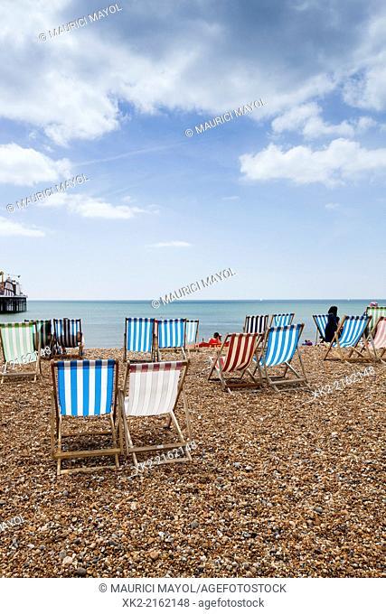 Hammocks in a beach of Brighton, UK