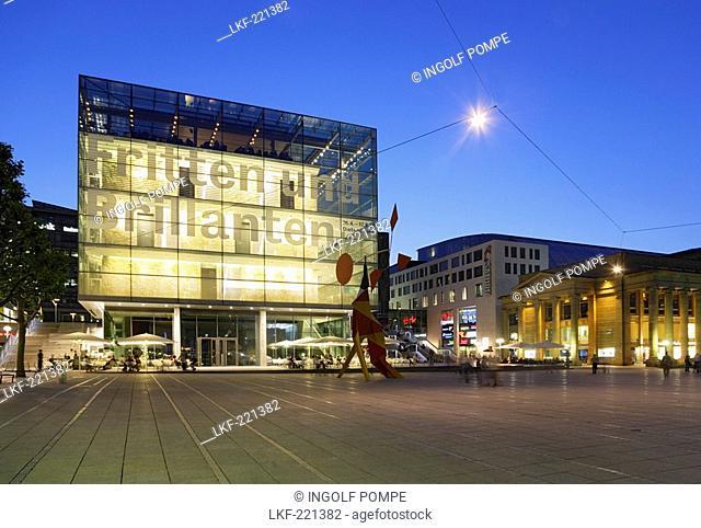 Illuminated Kunstmuseum at castle square in the evening, Stuttgart, Baden-Wurttemberg, Germany