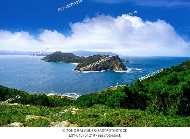 Islas Cies islands San Martino island in Vigo of Galicia Spain