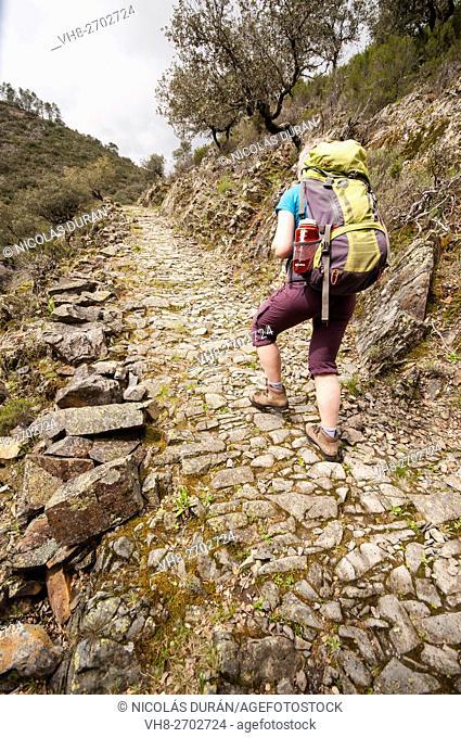 Hiking in Esparaban Valley. Pinofranqueado. Hurdes. Cáceres Province. Extremadura. Spain