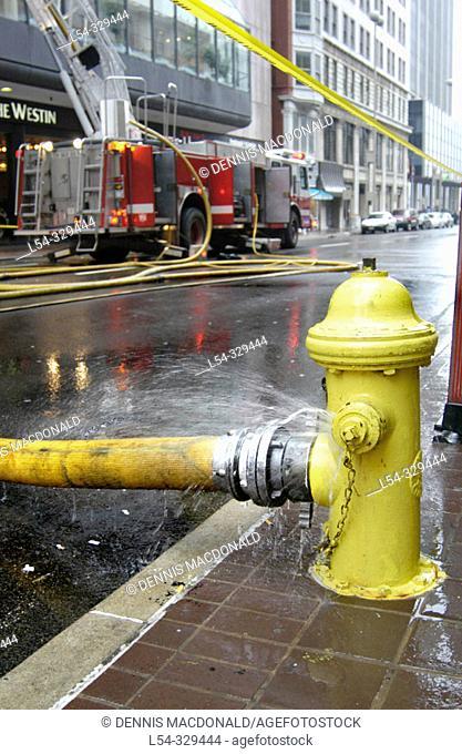 Fire. Downtown Cincinnati, Ohio. USA