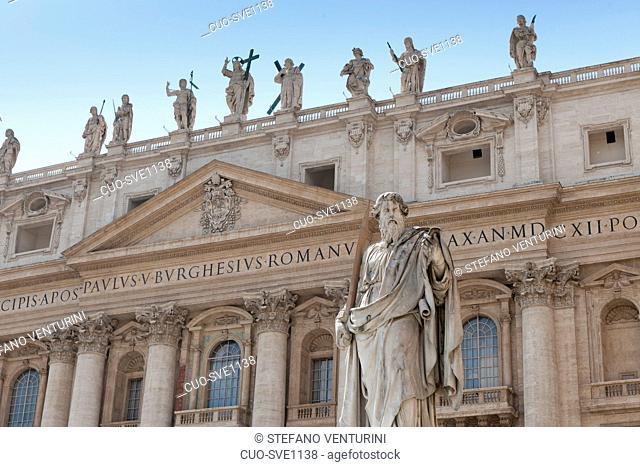 San Paolo statue, San Pietro basilica, Vaticano, Rome, Lazio, Italy, Europe