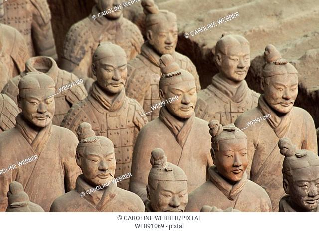 Unique faces of the Terra Cotta Warriors in Xi'an China