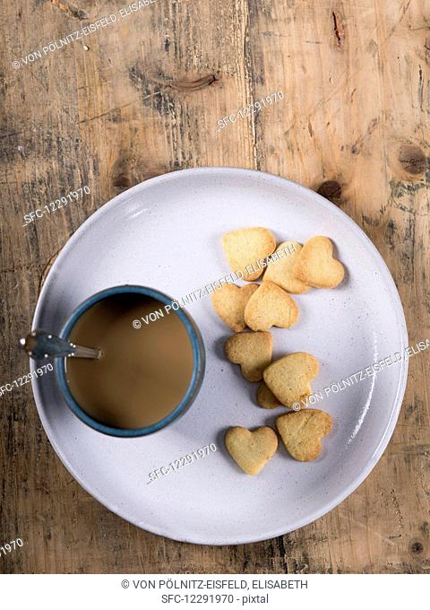 Shortbread cookies (butter biscuits) and coffee