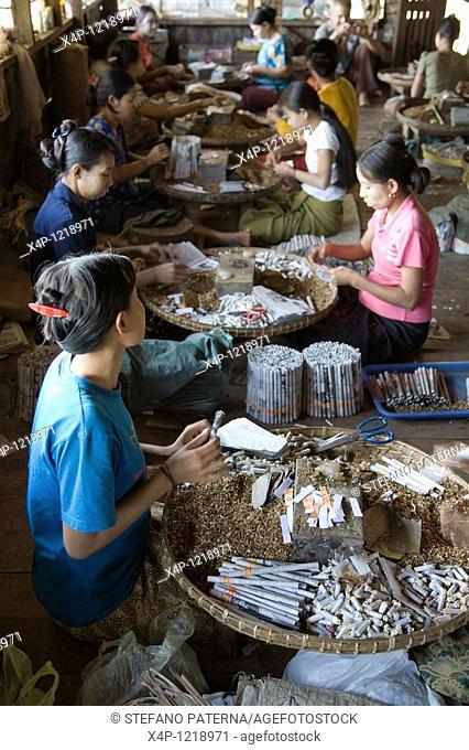 Worker in a Cheroot factory, Bago, Myanmar