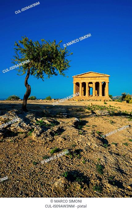 View of the Temple of Concordia, Valley of the Temples, Agrigento, Sicily, Italy