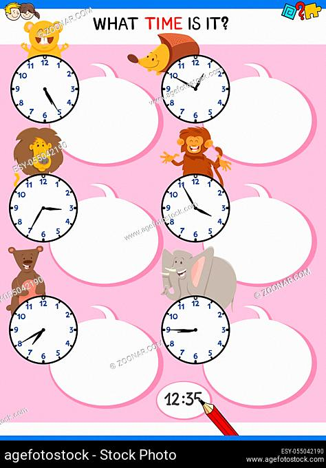 Cartoon Illustrations of Telling Time Educational Activity with Clock Face and Animals for Kids