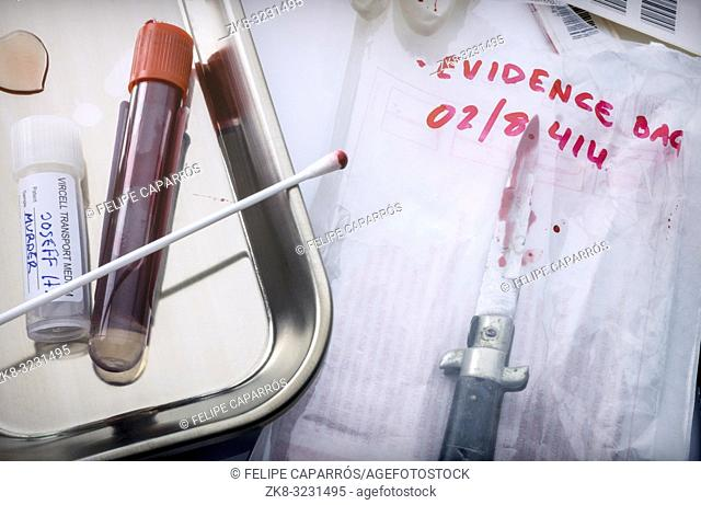 tests of cutting weapon of crime in a laboratory, conceptual image