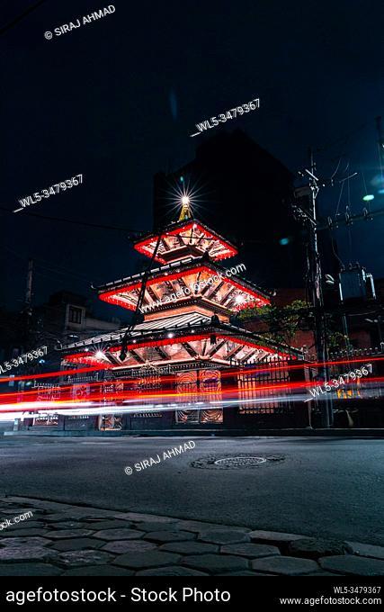 Long exposure of a well illuminated Hindu Temple at night