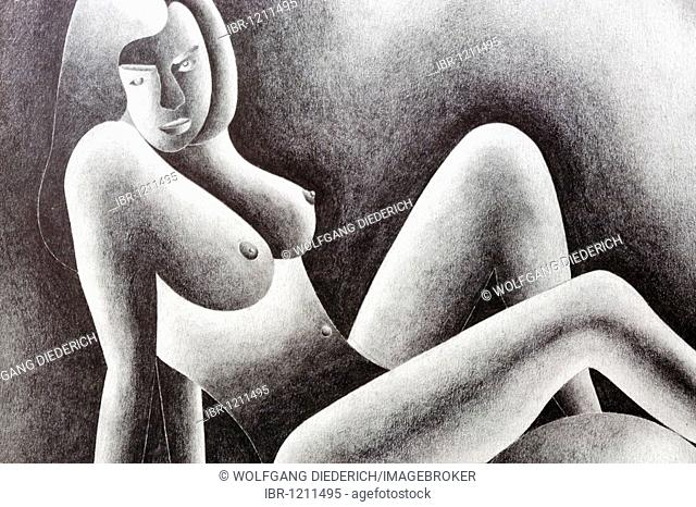 Pencil drawing, theme: nude, by the artist Gerhard Kraus, Kriftel, Germany