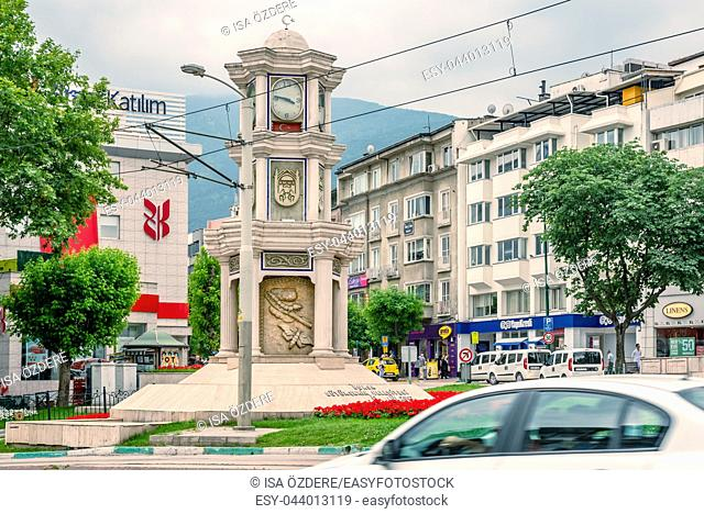 View of Historical ancient old Clock Tower in city center of Bursa, Turkey. 20 May 2018