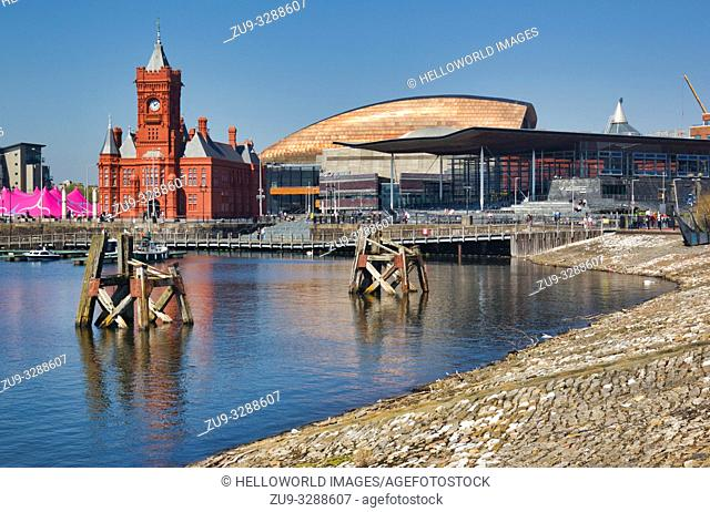 Cardiff Bay with landmarks. National Assembly for Wales, Pierhead building, and the Wales Millennium Centre, Cardiff, Wales, United Kingdom