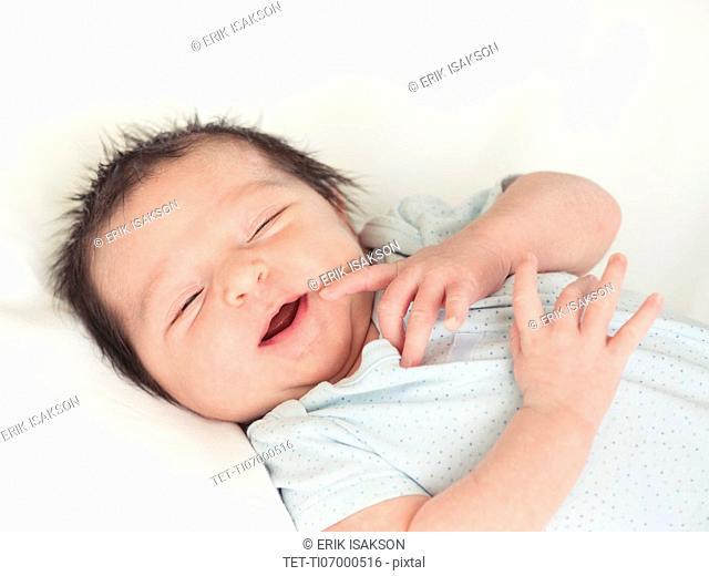 Portrait of newborn baby boy (0-1 months)