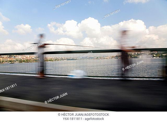 Istanbul Bosphorus with fishermen