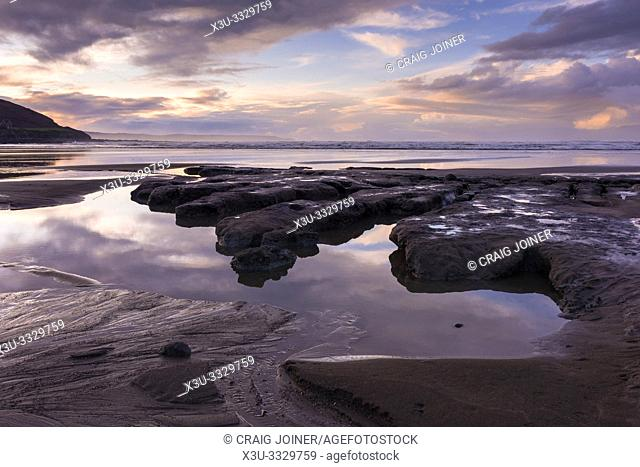 The clay bed exposed at low tide on Westward Ho! beach, North Devon, England